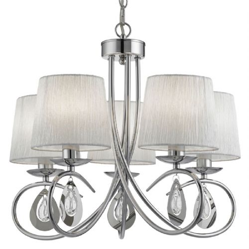 Angelique 5 Light Ceiling, Chrome, White Ruffled Shades, Chrome/Clear Glass Peardrop Deco 1025-5Cc